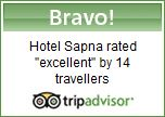 "Hotel Sapna rated ""excellent' by 14 travellers."