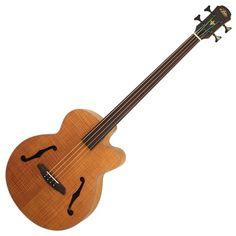 Aria FEB semi acoustic fretless bass, natural