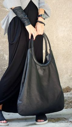 NEW Genuine Leather Black Extravagant Tote Bag / High от Aakasha
