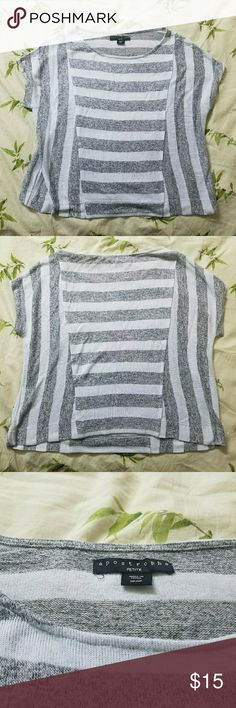 Stripped Top Gray and white, really soft, slightly see through, petite but can fit a small in normal   Comment any questions  (B3) Apostrophe Tops