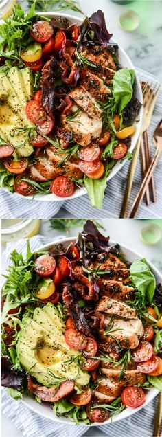Rosemary Chicken, Bacon and Avocado Salad by @how sweet eats I howsweeteats.com