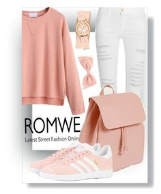 """ROMWE"" by blackangel98 ❤ liked on Polyvore featuring Frame Denim, Zara, adidas Originals and Michele"