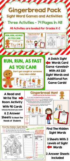 """Gingerbread Pack: Three Sight Word Games and Activities Differentiated and Leveled for grades K-2. """"Run, Run, As Fast As You Can"""" game, Gingerbread Hunt Activity and Gingerbread House Find the Hidden Sight Words. All for only $3.00!!!"""