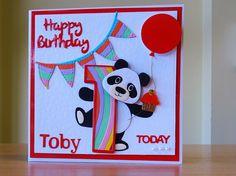 1st Birthday Card - Marianne Panda Die & Tonic Number Die. For more of my cards please visit CraftyCardStudio on Etsy.com. 1st Birthday Cards, Handmade Birthday Cards, Handmade Cards, Kids Cards, Baby Cards, Bookmarks Kids, Bear Card, Elizabeth Craft Designs, Craft Club