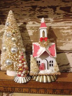 Glitter Church Putz Church Vintage Christmas Village Glitter House with Decorated Bottlebrush Trees Handmade Gingerbread House Putz House by ThePokeyPoodle on Etsy