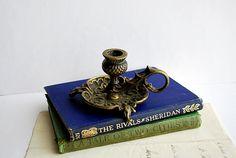 Antique Brass Chamber Candlestick Scottish Thistle by honeyandsea