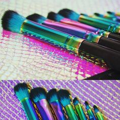 Gorgeous Rainbow spectrum brushes! Always. Cruelty free, I have one pink one but still not used it yet.. It's too pretty!