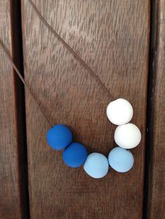 Nautical- 2 tone blue & white polymer clay necklace on Etsy, $25.00 AUD
