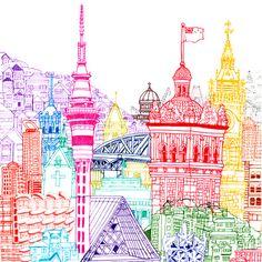 New Zealand Towers Art Print