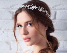 Wedding Headband, Bridal Headband, Pearl Headband, Bridal Crown, Wedding Hair Vine, Wedding Headpiece, Wedding Tiara, Bridal Hairpiece
