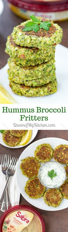 Hummus Broccoli Fritters - A light and healthy plant-based meal packed with savory flavor and gluten-free. If you're a hummus fan you will LOVE these fritters! #AD | QueenofMyKitchen.com | #broccoli #fritters #plantbased #plantbaseddiet #vegetarian #vegetarianrecipes