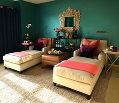 Dalliance Design - living rooms - teal walls