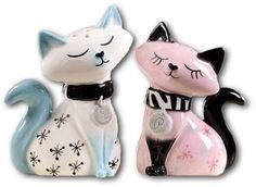 Retro 1950s Style Pink & White Cat Salt & Pepper Shakers