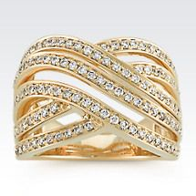 Crossing Wave Diamond Ring in 14k Yellow Gold Image