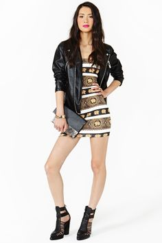 Baroque elephant print dress white and gold with a leather jacket