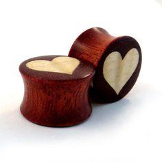 "Heart - Wood on Wood Bloodwood Inlay Plugs - PAIR - 0g (8mm) 00g (9mm) (10mm) 7/16"" (11mm) 1/2"" (13mm) 9/16"" (14mm) 5/8"" 16mm Wooden Gauges on Etsy, $50.00"