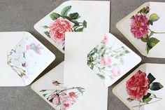 invit, idea, envelopes, paper, envelop liner, public libraries, flower, floral, design