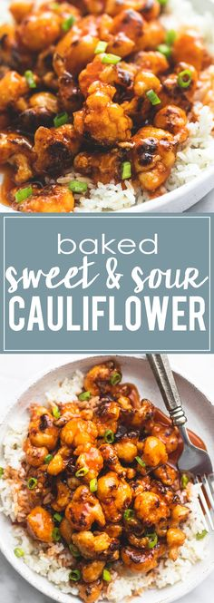 Baked Sweet & Sour Cauliflower - a healthy 30 minute meatless meal even meat-lovers will crave. | lecremedelacrumb.com