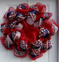 Metallic Red Patriotic Mesh Wreath With Wired Ribbon. $55.00, via Etsy.