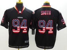 Men's 2015 Nike NFL San Francisco 49ers 94# Justin Smith Black Flag Fashion Elite Jerseys