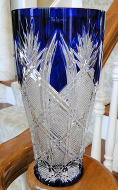 Faberge Imperial Czar Collection Cased Cut to Clear Crystal Vase in Cobalt Blue