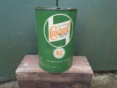 VINTAGE ORIGINAL WAKEFIELD CASTROL OIL CAN 5 GARAGE SIGN GALLON DRUM This would make an awesome garbage can Castrol Oil, Oil Image, Old Garage, Garage Signs, Garbage Can, Gas Pumps, Old Signs, Wakefield, Oil And Gas