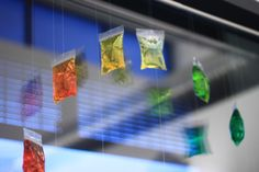 colour bags -hang in classroom window area