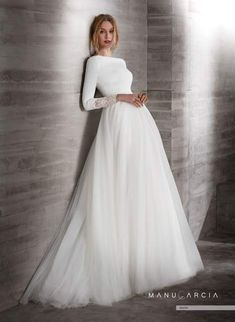 dress Wedding modest - Online Shop 2019 New Simple Crepe Tulle Modest Wedding Dresses With Sleeves Boat Neck Covered Back Country Western Sleeved Bridal Gowns Muslim Wedding Dresses, Wedding Gowns With Sleeves, Long Sleeve Wedding, Dream Wedding Dresses, Bridal Dresses, Boat Neck Wedding Dress, Bridal Gown Styles, Tulle Wedding, Modest Dresses