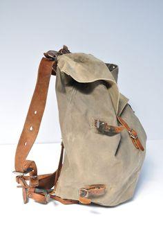 large vintage backpack leather and canvas back pack ruck sack rucksack swiss