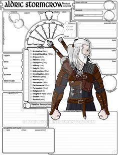 Commissioned Character Sheet DnD) Aldric by BasiliskOnline on DeviantArt Dungeons And Dragons Characters, D D Characters, Fantasy Characters, Rpg Character Sheet, 5e Dnd, Character Inspiration, Character Design, Wolf World, Rp Ideas