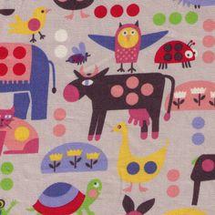 HALF YARD  Animals on GREY  Giraffe Bunny Elephant by fabricsupply