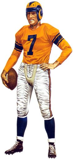 LA Rams Quarterback Bob Waterfield By Merv Corning.  Pro Football Journal Presents: NFL Art: Merv Corning