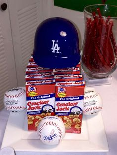 Los Angeles Dodgers birthday party favors! See more party planning ideas at CatchMyParty.com!