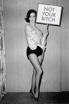 "Woman ""Not Your Bitch"" sign feminist art vintage photo women's liberation woman's lib resistance divorce gift gift female photography"
