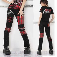 Buy Red Plaid Black Steampunk Cyber Steam Punk Emo Pants Trousers