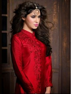 Red with Beige color Anarkali Suit with Trouser
