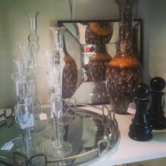Mirror tray, pawn, vase, glass candlesticks
