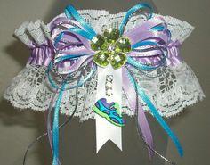 Lavender Turquoise and White Lace Rhinestone Sparkle Running/Track Prom or Wedding Garter by JazziGenShoppe