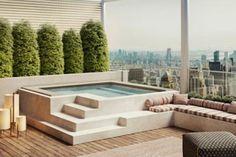 Outdoor Furniture Sets, Outdoor Decor, Small Pools, Terrace Design, Patio Design, Pool Hot Tub, Outdoor Furniture Decor, Modern Outdoor Furniture, Jacuzzi