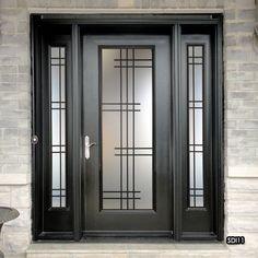 Glass door design entrance wrought iron 58 new Ideas Window Grill Design Modern, Grill Door Design, Door Gate Design, Front Door Design, Window Design, Door Grill, Iron Front Door, Exterior Front Doors, Vidro Art Deco