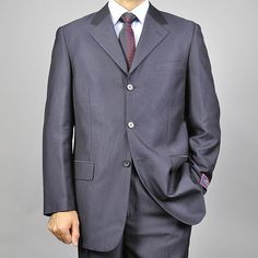 Mens solid black 3 button suits. I love 3 button suits.