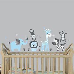 Jungle-Animal-Decal-Nursery-Boys-Room-Wall-Sticker-Jungle-Animal-Wall-Mural
