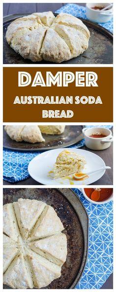 Damper (Australian Soda Bread) Damper is an Australian soda bread traditionally . Pavlova, Australian Desserts, Australian Recipes, New Zealand Food, Aussie Food, Soda Bread, Camping Meals, Camping Cooking, Oven Cooking