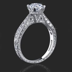 Artistically Designed Millegrain and Engraved Diamond Engagement Ring Antique Style Engagement Rings, Halo Engagement Rings, Designer Engagement Rings, Engagement Ring Settings, Beautiful Rings, Wedding Rings, Wedding Cakes, Diamond Rings, Gemstone Rings