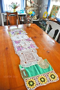 willy nilly table runner by Helena (made from vintage hankies, doilies, lace and some hand embroidery). #craft
