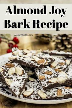 Dark Chocolate Candy, Chocolate Almond Bark, Dark Chocolate Almonds, Frozen Chocolate, Decadent Chocolate, Chocolate Treats, Coconut Bark Recipe, Almond Bark Recipes, Coconut Candy