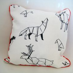 Origami Throw Pillow / Scatter Cushion, Wild Animals, Wolf, Deer