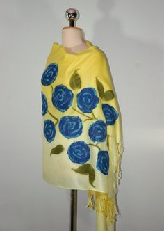 Felted Pashmina Scarf Yellow Floral Scarf Art Pashmina by Filtil