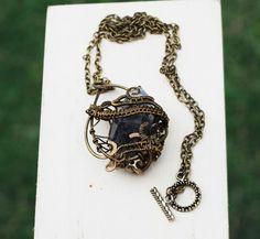 Natural Tibetan Black Ghost Quartz Crystal Wire Wrap Beautiful Bronze Necklace #Jeanninehandmade #Pendant