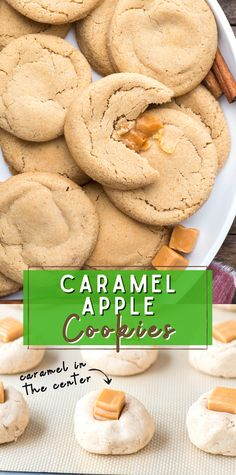 Soft and Chewy Caramel Apple Cookies combine the best fall flavors. These apple cookies are thick, chewy and easy to freeze. Learn our tip for getting them to taste like caramel apple cider! #caramelapplecookies #applecookies #cookies Cheesecake Desserts, Easy Desserts, Delicious Desserts, Caramel Apple Cookies, Caramel Apples, Trifle Pudding, Homemade Snickers, Birthday Desserts, Strawberry Desserts